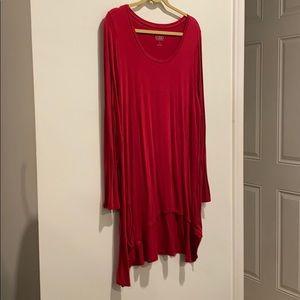 LOGO dark pink dress with pockets long sleeves